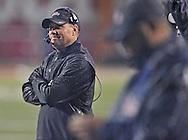 Ole Miss Rebels head coach Hugh Freeze looks up at  Arkansas at Donald W. Reynolds Razorback Stadium in Fayetteville, Ark. on Saturday, November 22, 2014. Arkansas won 30-0.