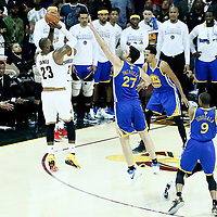 09 June 2017: Cleveland Cavaliers forward LeBron James (23) takes a jump shot over Golden State Warriors center Zaza Pachulia (27) during the Cleveland Cavaliers 137-11 victory over the Golden State Warriors, in game 4 of the 2017 NBA Finals, at  the Quicken Loans Arena, Cleveland, Ohio, USA.