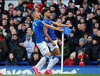 Football - 2019 / 2020 Premier League - Everton vs. Manchester United<br /> <br /> Richarlison and Dominic Calvert-Lewin of Everton celebrate after Dominic Calvert-Lewin had put them 1-0 ahead, at Goodison Park.<br /> <br /> COLORSPORT/ALAN MARTIN