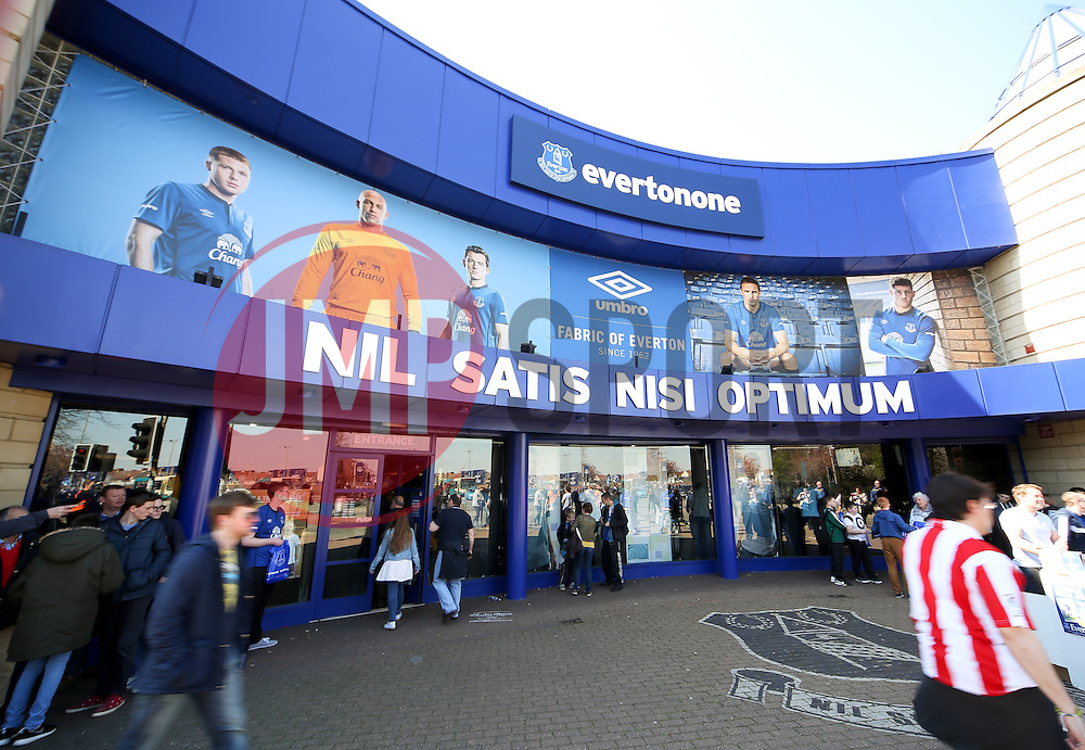 A general view of the club shop outside Goodison Park ahead of the Barclays Premier League match between Everton and Burnley - Photo mandatory by-line: Matt McNulty/JMP - Mobile: 07966 386802 - 18/04/2015 - SPORT - Football - Liverpool - Goodison Park - Everton v Burnley - Barclays Premier League
