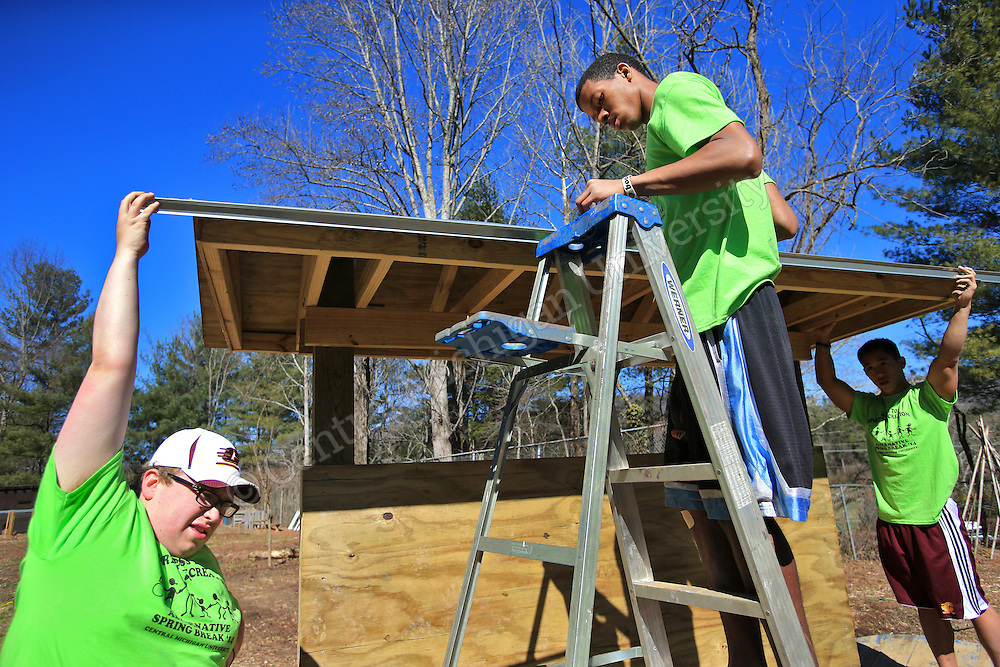 Eric Ostrowski, of Northville, (left) holds drip bar in place as Rajaah Salaam, of Flint, drills holes and hammers nails to attach it to the garden kiosk they were building. He was among nine CMU students spending their Alternative Break at theYMCA of Western NC Youth Service Center for the week to help with projects to improve the center and in the community. They addressed access to sports and recreation and built a kiosk, cleared a stream bed and worked with elementary students in an after school program as their Alternative Break project. CMU is ranked fourth in the nation for the number of students participating in Alternative Breaks and fifth in the country for the most trips coordinated by a university. The program organizes about 40 trips each year with more than 400 students participating. Photo by Steve Jessmore/Central Michigan University
