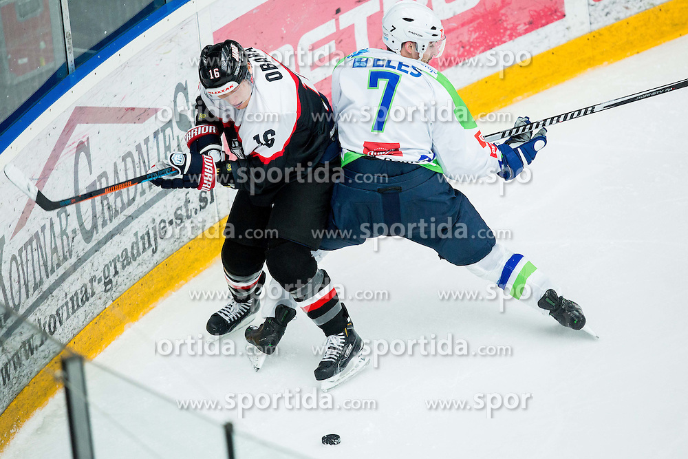 Daisuke Obara of Japan vs Klemen Pretnar of Slovenia during ice-hockey friendly match between National teams of Slovenia and Japan, on April 10, 2015 in Arena Podmezakla, Jesenice, Slovenia. Photo by Vid Ponikvar / Sportida