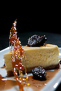 Food and specialties created by the talented Chef Jason Dodge at Peche Restaurant and Bar, Austin, Texas. Ricotta Cheesecake with Port Figs.