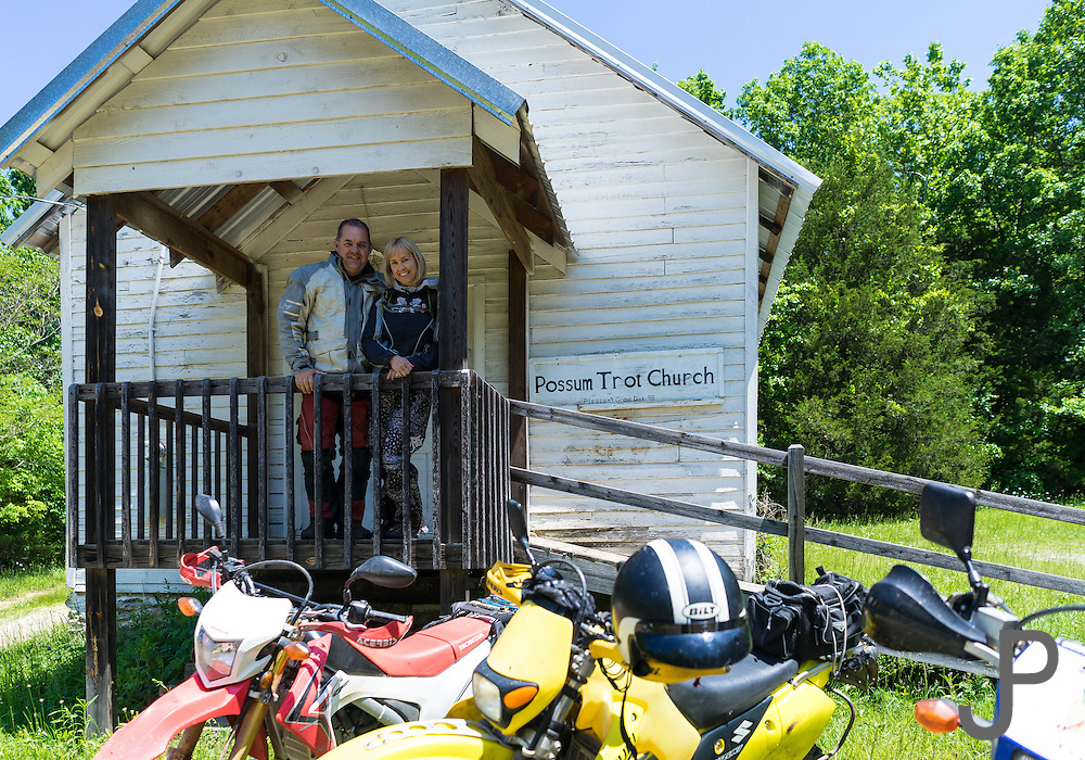 We stop for a break at Possum Trot Church during our 2016 Hillbilly Dual Sport motorcycle ride near Marble Falls, AR.