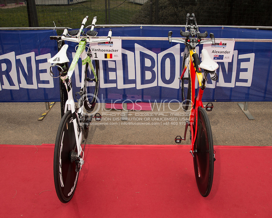 Mario Vanhoenacker (BEL) and Craig Alexander (AUS), March 22, 2014 - Ironman Triathlon : Ironman Melbourne Pre-Race, Frankston Transition, Melbourne, Victoria, Australia. Credit: Lucas Wroe