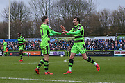 Forest Green Rovers Alex Bray(31) scores a goal 1-0 and celebrates with Forest Green Rovers Christian Doidge(9) during the EFL Sky Bet League 2 match between Forest Green Rovers and Coventry City at the New Lawn, Forest Green, United Kingdom on 3 February 2018. Picture by Shane Healey.