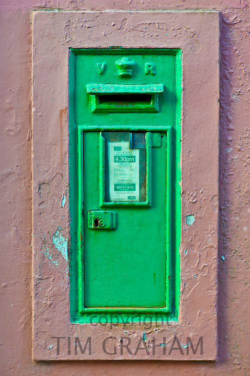 Postbox from the time of Queen Victoria with cypher VR in Kinsale, County Cork, Ireland