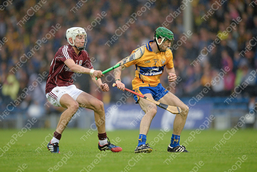 24 August 2013; Stephen O'Halloran, Clare, in action against Jason Flynn, Galway. Bord Gáis Energy GAA Hurling Under 21 All-Ireland Championship Semi-Final, Galway v Clare, Semple Stadium, Thurles, Co. Tipperary. Picture credit: Stephen McCarthy / SPORTSFILE *** NO REPRODUCTION FEE ***