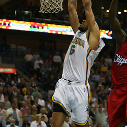 15 April 2008: New Orleans Hornets center Tyson Chandler #6 dunks the ball in the second half of the Hornets 114-92 Southwestern Division clinching victory over the Clippers at the New Orleans Arena in New Orleans, Louisiana.