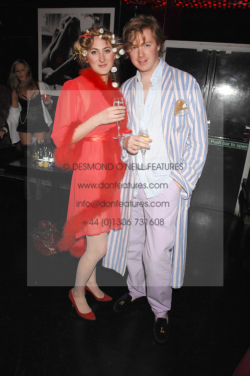 VIOLET NAYLOR-LEYLAND and TOM HOWARD at a pajama party at The Cuckoo Club, Swallow Street, London on 2nd April 2008.<br />