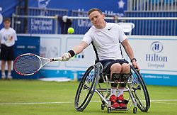 LIVERPOOL, ENGLAND - Friday, June 19, 2015: Great Britain Wheelchair Tennis Player Jamie Burdenkin during Day 2 of the Liverpool Hope University International Tennis Tournament at Liverpool Cricket Club. (Pic by David Rawcliffe/Propaganda)