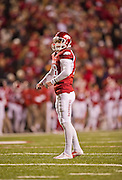 Nov 12, 2011; Fayetteville, AR, USA;  Arkansas Razorbacks kicker Zach Hocker (18) prepares to kick for extra points during a game against the Tennessee Volunteers at Donald W. Reynolds Razorback Stadium. Arkansas defeated Tennessee 49-7. Mandatory Credit: Beth Hall-US PRESSWIRE