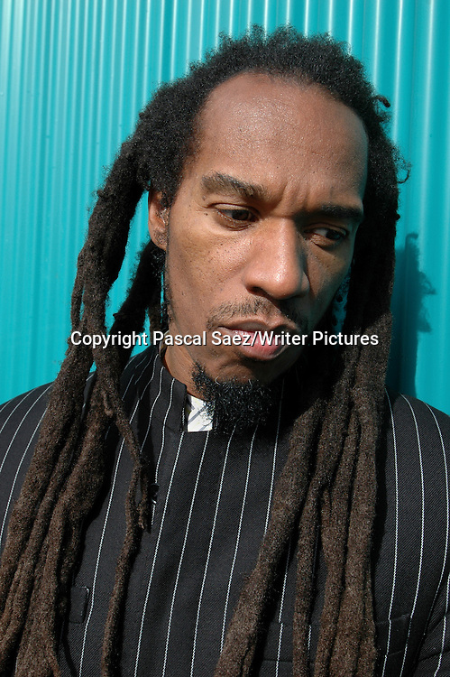 British poet Benjamin Zephaniah at the Vancouver International Writers and Readers Festival 2007.<br /> <br /> Copyright Pascal Saez/Writer Pictures<br /> <br /> contact +44 (0)20 8241 0039<br /> sales@writerpictures.com<br /> www.writerpictures.com