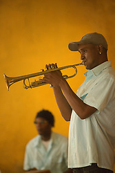 Trumpet player in Trinidad, Cuba.