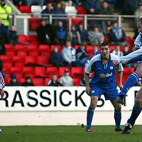St Johnstone v Inverness Caley Thistle..  04.02.03<br />Chris Hay fires home his first goal<br /><br />Pic by Graeme Hart<br />Copyright Perthshire Picture Agency<br />Tel: 01738 623350 / 07990 594431