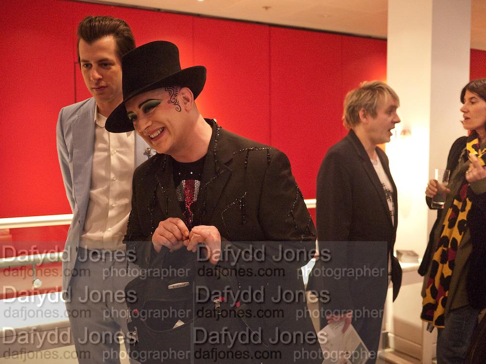 MARK RONSON; BOY GEORGE; NICK RHODES, Prima Donna opening night. Sadler's Wells Theatre, Rosebery Avenue, London EC1, Premiere of Rufus Wainwright's opera. 13 April 2010