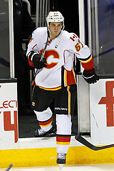 Jan 17, 2012; San Jose, CA, USA; Calgary Flames center Lance Bouma (57) enters the ice before the second period against the San Jose Sharks at HP Pavilion. San Jose defeated Calgary 2-1 in shootouts. Mandatory Credit: Jason O. Watson-US PRESSWIRE