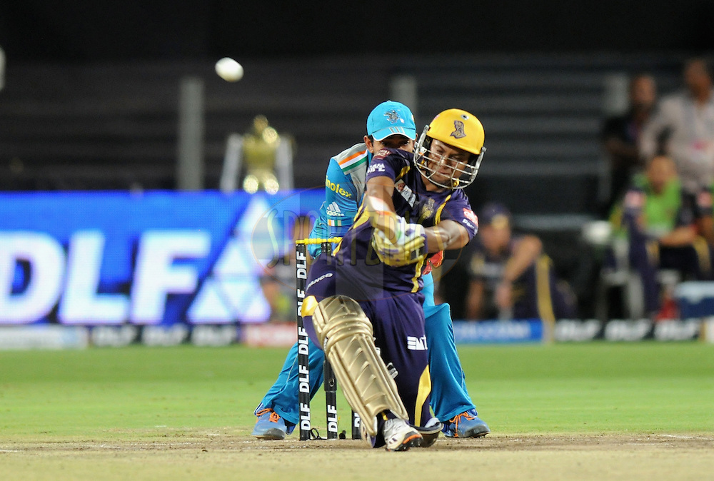 Shakib Al Hasan of Kolkatta Knight Riders bats during match 70 of the Indian Premier League ( IPL) 2012  between The Pune Warriors India and the Kolkata Knight Riders held at the Subrata Roy Sahara Stadium, Pune on the 19th May 2012..Photo by Pal Pillai/IPL/SPORTZPICS