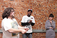 (from left) Aaron Phillips of Dayton, Nate Washington of Dayton and Erin Welsh of Dayton during a Lofty Aspirations improv class at The Livery in the Oregon Arts District in Dayton, Wednesday, February 15, 2012.