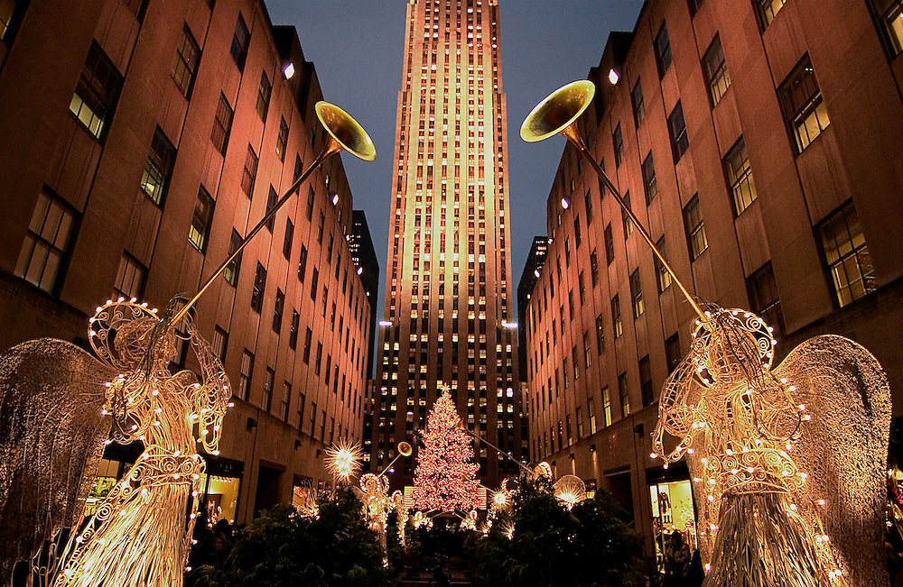 Channel Gardens at Christmas, Rockefeller Center, New York, NY