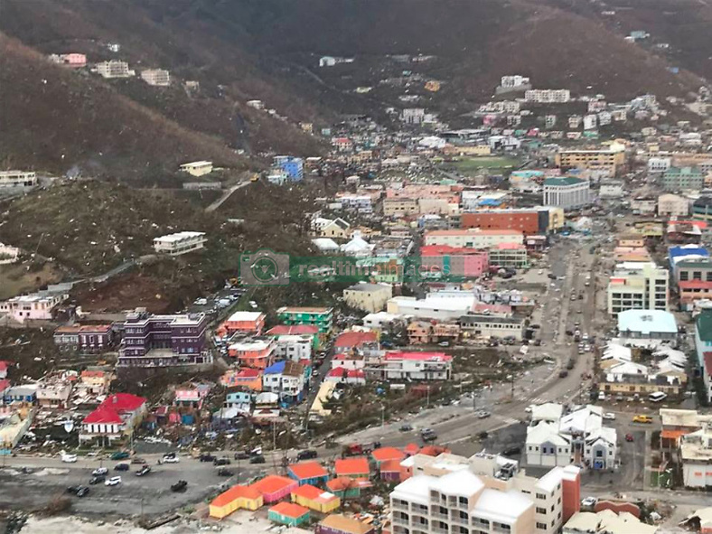 These dramatic aerial photos show the devastation caused across the British Virgin Islands after it was pummeled by Hurricane Irma last week. The deadly hurricane obliterated everything in its path, slamming boats into a huge cluster, tearing up homes and jetties and snapping trees and infrastructure into pieces. The current death toll in the Caribbean was reported at 38 on Monday [September 11]. Caribbean Buzz Helicopters took to the skies to takes these images the day after Irma made landfall across the British Virgin Islands. Areas photographed include Leverick Bay in Virgin Gorda, one the the neighboring islands to Richard Branson's privately-owned Necker Island, which was almost entirely destroyed by Irma, which is the most powerful hurricane ever recorded to have crossed the Atlantic Ocean. Another image depicts the jetty at Yacht Club Costa Smeralda which has been torn into pieces. After hitting the Caribbean on Wednesday [September 6], the hurricane continued its deadly path into Cuba and made landfall on the Florida Keys on Sunday [September 10] before pushing up the Gulf Coast. On Monday [September 11] it was downgraded to a tropical storm, but is still pummeling northern Florida and is expected to hit Georgia later today. Latest figures reveal the death toll has risen to 38 in the Caribbean while five deaths so far have been reported in Florida. 11 Sep 2017 Pictured: Devastation caused by Hurricane Irma in the British Virgin Islands - Road Town. Photo credit: Caribbean Buzz/ MEGA TheMegaAgency.com +1 888 505 6342