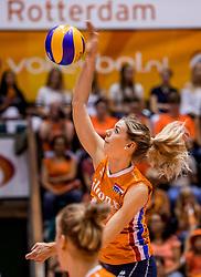 26-08-2017 NED: World Qualifications Netherlands - Slovenia, Rotterdam<br /> De Nederlandse volleybalsters plaatsten zich eenvoudig voor het WK volgend jaar in Japan. Ook Sloveni&euml; wordt met 3-0 verslagen / Britt Bongaerts #12 of Netherlands