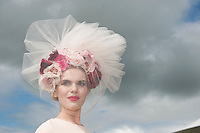 30/07/2015 Repro free  Danielle Gingell who is now living in Claremorris, Co. Mayo was awarded the title of Kilkenny Best Hat in a fabulous veiled floral cream creation with tulle netting by American Milliner Arturo Rios creation.Photo:Andrew Downes