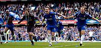 Photo: Daniel Hambury.<br />Chelsea v Manchester United. The Barclays Premiership. 29/04/2006.<br />Chelsea's L-R<br />William Gallas, Petr Cech, John Terry and Arjen Robben celebrate the title.