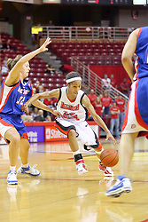 25 November 2007: Tiffany Hudson drives past Deirdre Naughton and into the lane. The DePaul Blue Demons defeated the Illinois State Redbirds 80-75 on Doug Collins Court at Redbird Arena in Normal Illinois