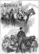 Second Anglo-Afghan War (1878-1880): Yakub (Yakoob) Khan, ruler of Afghanistan, at a review at Gundamuck, 30 May 1879, after signing of Treaty of Gundamuck on 26 May. At top, Lieut Hamilton rides at the head of a native regiment of Guides. Wood engraving