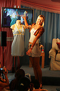 Tennis player Maria Sharapova during a promotional event to unveil her tennis outfit for the US Open August 22, 2005 in New York.