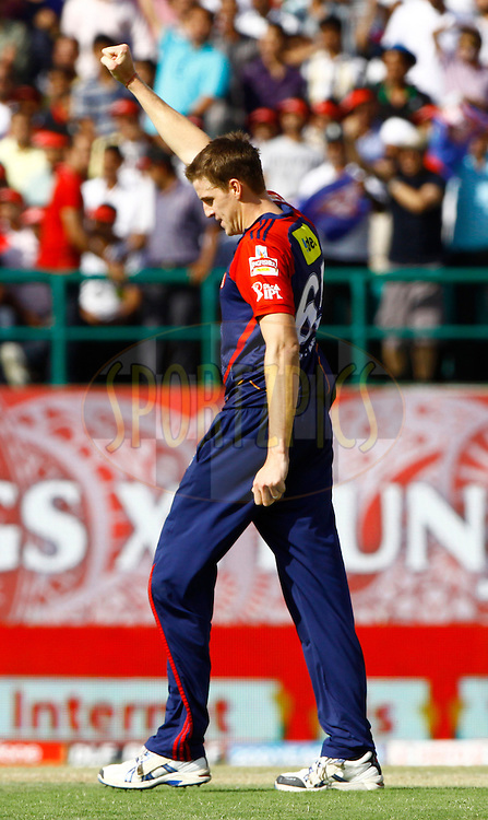 Delhi Daredevils player Morne Morkel celebrates the wicket of Kings XI Punjab player Paul Valthaty during match 69 of the the Indian Premier League ( IPL) 2012  between The Kings X1 Punjab and The Delhi Daredevils held at the HPCA Stadium, Dharamsala, on the 19th May 2012..Photo by Pankaj Nangia/IPL/SPORTZPICS