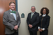 Daniel DeLawder, center, stands with Tim Binegar, left, and Dean Renee Middleton beside the new Active Learning Center on the third floor of the newly renovated McCracken Hall on January 27, 2017.