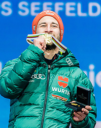 23.02.2019, Medal Plaza, Seefeld, AUT, FIS Weltmeisterschaften Ski Nordisch, Seefeld 2019, Skisprung, Herren, Siegerehrung, im Bild Weltmeister und Goldmedaillengewinner Markus Eisenbichler (GER) // World champion and Gold medalist Markus Eisenbichler of Germany during the winner Ceremony for the men's Skijumping HS130 competition of FIS Nordic Ski World Championships 2019 at the Medal Plaza in Seefeld, Austria on 2019/02/23. EXPA Pictures © 2019, PhotoCredit: EXPA/ Stefan Adelsberger