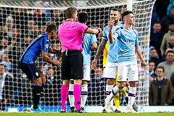 Phil Foden of Manchester City is shown a red card and sent off - Mandatory by-line: Robbie Stephenson/JMP - 22/10/2019 - FOOTBALL - Etihad Stadium - Manchester, England - Manchester City v Atalanta - UEFA Champions League Group Stage