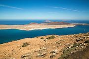 La Graciosa island and El Rio channel,  Chinjo archipelago natural park, Lanzarote, Canary Islands, Spain