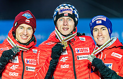 02.03.2019, Seefeld, AUT, FIS Weltmeisterschaften Ski Nordisch, Seefeld 2019, Skisprung, Herren, Siegerehrung, im Bild v.l. Silbermedaillengewinner Kamil Stoch (POL), Weltmeister und Goldmedaillengewinner Dawid Kubacki (POL), Bronzemedaillengewinner Stefan Kraft (AUT) // f.l. Silver medalist Kamil Stoch of Poland World champion and Gold medalist Dawid Kubacki of Poland Bronce medalist Stefan Kraft of Austria during the winner ceremony for the men's Skijumping HS109 competition of FIS Nordic Ski World Championships 2019. Seefeld, Austria on 2019/03/02. EXPA Pictures © 2019, PhotoCredit: EXPA/ Stefan Adelsberger