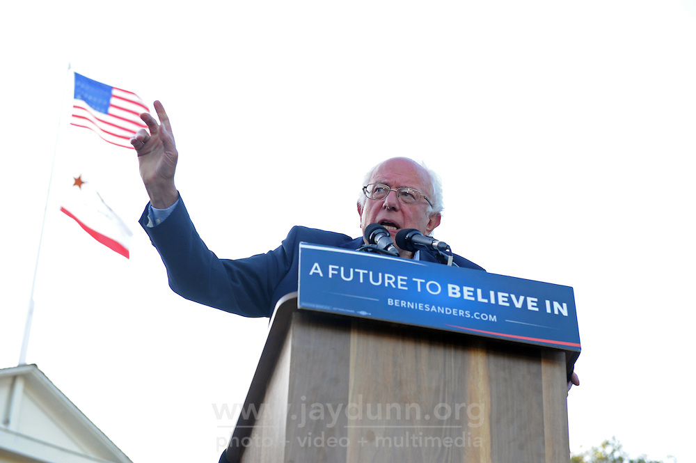 Democratic presidential candidate Bernie Sanders during his campaign stop in Monterey, CA on Tuesday, May 31st, 2016.