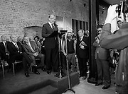 24/08/1984<br /> 08/24/1984<br /> 24 August 1984<br /> Opening of ROSC '84 at the Guinness Store House, Dublin.  Lord Iveagh gives his speech at the ROSC 1984 opening. Seated behind are (front row): President Patrick Hillery and Mr Pat Murphy, ROSC Chairman and (back row)  Mr Brian Slowey, Managing Director, Guinness, Ireland and Maeve Hillery.