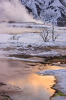 Sonnenaufgang an den Mammoth hot Springs, Yellowstone Nationalpark, USA
