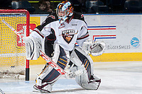 KELOWNA, CANADA - MARCH 15: Ryan Kubic #31 of the Vancouver Giants warms up against the Kelowna Rockets on March 15, 2014 at Prospera Place in Kelowna, British Columbia, Canada.   (Photo by Marissa Baecker/Getty Images)  *** Local Caption *** Ryan Kubic;