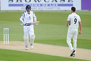 Kyle Abbott of Hampshire hits a four off the bowling of Steven Finn of Middlesex during the Specsavers County Champ Div 1 match between Hampshire County Cricket Club and Middlesex County Cricket Club at the Ageas Bowl, Southampton, United Kingdom on 16 April 2017. Photo by David Vokes.