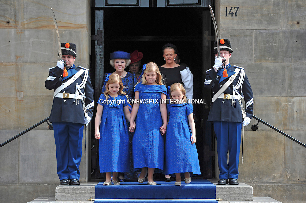 "30.04.2013; Amsterdam: KING WILLEM-ALEXANDER AND QUEEN MAXIMA.Princess Beatrix and Princess Mabel walk together with Princess Alexia (left) Crown Princess Catharina-Amalia, and Princess Ariane (right) to the Nieuwe Kerk, Amsterdam, The Netherlands, for the inauguration of King Willem-Alexander..Mandatory Credit Photos: ©Court/NEWSPIX INTERNATIONAL..**ALL FEES PAYABLE TO: ""NEWSPIX INTERNATIONAL""**..PHOTO CREDIT MANDATORY!!: NEWSPIX INTERNATIONAL(Failure to credit will incur a surcharge of 100% of reproduction fees)..IMMEDIATE CONFIRMATION OF USAGE REQUIRED:.Newspix International, 31 Chinnery Hill, Bishop's Stortford, ENGLAND CM23 3PS.Tel:+441279 324672  ; Fax: +441279656877.Mobile:  0777568 1153.e-mail: info@newspixinternational.co.uk"