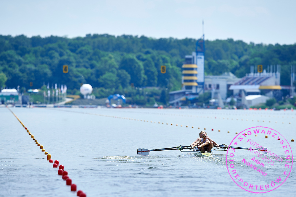 (bow) Kasper Winther and (2) Jens Vilhemsen and (3) Jacob Barsoe and (stroke) Jacob Larsen all of Denmark compete atLightweight Man&rsquo;s Four (LM4-) during first day the 2015 European Rowing Championships on Malta Lake on May 29, 2015 in Poznan, Poland<br /> Poland, Poznan, May 29, 2015<br /> <br /> Picture also available in RAW (NEF) or TIFF format on special request.<br /> <br /> For editorial use only. Any commercial or promotional use requires permission.<br /> <br /> Mandatory credit:<br /> Photo by &copy; Adam Nurkiewicz / Mediasport