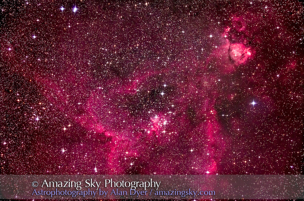 The Heart Nebula (IC 1805) in Cassiopeia with the star clusters Melotte 15 (at centre) and NGC 1027 (at left), with the nebula NGC 896 at upper right. <br /> <br /> I shot this October 6, 2016 from home with an Explore Scientific FCD102 apo refractor at f/7. This is a stack of 8 x 4.5-minute exposures at ISO 1600 with the filter-modified Canon 5D MkII. Stellar diffraction spikes added with Astronomy Tools Photoshop actions.