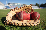 Practice balls ready for day 3 of the Specsavers County Champ Div 2 match between Glamorgan County Cricket Club and Leicestershire County Cricket Club at the SWALEC Stadium, Cardiff, United Kingdom on 18 September 2019.