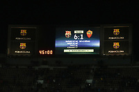Il tabellone del Camp Nou a fine partita con il risultato della partita<br /> Barcelona 24-11-2015 Stadio Camp Nou<br /> Football Calcio Champions League 2015/2016 <br /> Group Stage - Group E Barcelona - As Roma /  Barcellona - As Roma<br /> Foto Luca Pagliaricci / Insidefoto