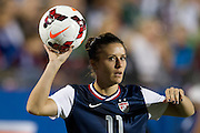 FRISCO, TX - JANUARY 31:  Ali Krieger #11 of the U.S. Women's National Team throws the ball in against the Canadian Women's National Team on January 31, 2014 at Toyota Stadium in Frisco, Texas.  (Photo by Cooper Neill/Getty Images) *** Local Caption *** Ali Krieger