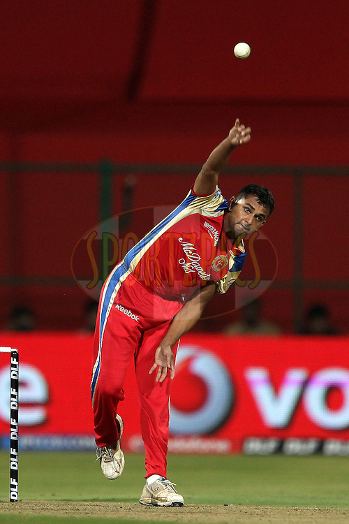 Asad Khan Pathan during match 8 of the the Indian Premier League ( IPL ) Season 4 between the Royal Challengers Bangalore and the Mumbai Indians held at the Chinnaswamy Stadium, Bangalore, Karnataka, India on the 12th April 2011..Photo by Ron Gaunt/BCCI/SPORTZPICS