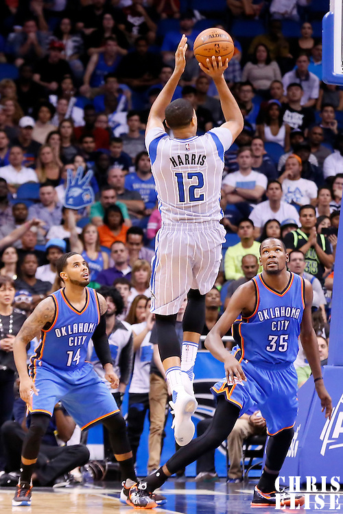 30 October 2015: Orlando Magic forward Tobias Harris (12) takes a jump shot during the Oklahoma City Thunder 139-136 double overtime victory over the Orlando Magic, at the Amway Center, in Orlando, Florida, USA.